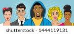 surprised people in pop art... | Shutterstock .eps vector #1444119131
