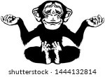 cartoon chimp great ape or... | Shutterstock .eps vector #1444132814