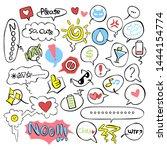 set. emotions. smilies.... | Shutterstock .eps vector #1444154774