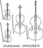 set of simple bowed stringed... | Shutterstock .eps vector #1444158374