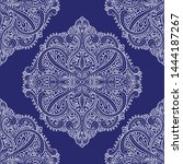 white and blue turkish floral... | Shutterstock .eps vector #1444187267