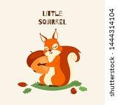 Squirrel Little Hugging Acorn...