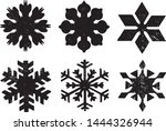 grunge snowflakes stamps... | Shutterstock .eps vector #1444326944