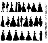 women silhouettes in various... | Shutterstock .eps vector #144433057