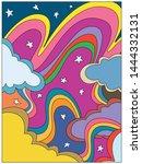 rainbows and clouds  vintage... | Shutterstock .eps vector #1444332131
