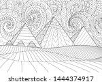 line art giza plateau... | Shutterstock .eps vector #1444374917