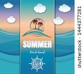 summer paper art. summer time... | Shutterstock .eps vector #1444377281