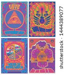 vintage psychedelic arts 1960s  ... | Shutterstock .eps vector #1444389077