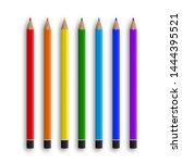 colored pencils for stationery... | Shutterstock .eps vector #1444395521