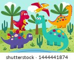 Cute Dinosaurs With Landscape...
