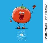 vector funny cartoon cute red... | Shutterstock .eps vector #1444465064