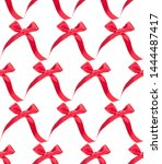 festive red gift  bow isolated... | Shutterstock . vector #1444487417