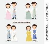 cute korean couple cartoon... | Shutterstock .eps vector #1444507814