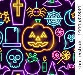 Halloween Neon Seamless Pattern....