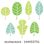 green tree leaves collection... | Shutterstock .eps vector #144453751