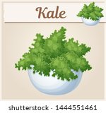 fresh kale in bowl illustration.... | Shutterstock .eps vector #1444551461