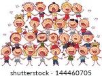Children Choir Singing Vector...