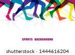 sports people running. marathon.... | Shutterstock .eps vector #1444616204