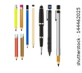 vector set 9 of pencils... | Shutterstock .eps vector #144462025