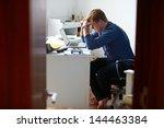 teenage boy studying in bedroom ... | Shutterstock . vector #144463384