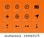 compass icons on orange...