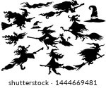 witches silhouette set of... | Shutterstock .eps vector #1444669481