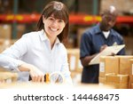 workers in warehouse preparing... | Shutterstock . vector #144468475