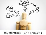 Small photo of Delegation concept. Wooden figurine and scheme for delegating.