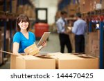 worker in warehouse checking... | Shutterstock . vector #144470425
