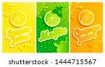 set of fresh lemon mojito... | Shutterstock . vector #1444715567