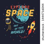 vintage explore space graphic...   Shutterstock .eps vector #1444716044