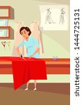 dressmaker occupation flat... | Shutterstock .eps vector #1444725131
