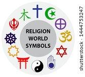 world religion symbols colored... | Shutterstock .eps vector #1444753247