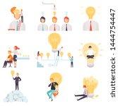 businessmen with light bulbs... | Shutterstock .eps vector #1444754447