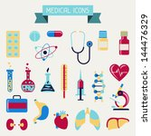 medical and health care icons... | Shutterstock .eps vector #144476329