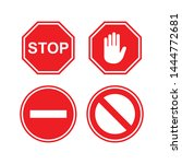 stop sign icon vector symbol | Shutterstock .eps vector #1444772681
