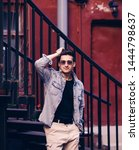 handsome young man wearing...   Shutterstock . vector #1444798637