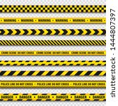 yellow and black barricade... | Shutterstock .eps vector #1444807397