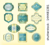 blue framed labels | Shutterstock .eps vector #144481381