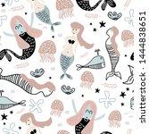 Cute Pattern Of Mermaid And...