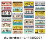 car plates. highway automobile... | Shutterstock .eps vector #1444852037