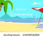 hello summer beach background... | Shutterstock .eps vector #1444856084