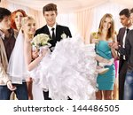 groom  carries bride on his... | Shutterstock . vector #144486505