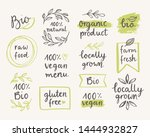hand drawn set of organic  eco  ... | Shutterstock .eps vector #1444932827