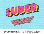 vector super font 3d bold pop... | Shutterstock .eps vector #1444936304