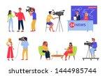 television industry set.... | Shutterstock .eps vector #1444985744