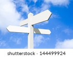 Blank Wooden Signpost With Four ...