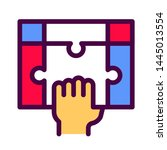 hand holding puzzle line color...