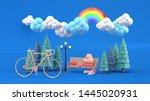 bike and backpacks in the park...   Shutterstock . vector #1445020931