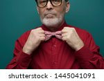 Small photo of Close-up portrait of a handsome self-confident man in a red shirt and bow tie with glasses posing on a pale green background. The concept of gallant intelligent men